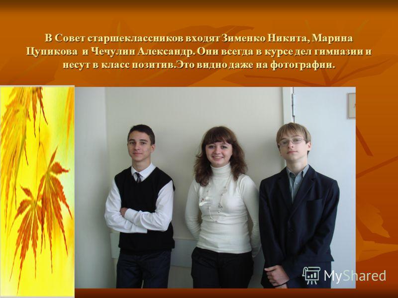 В Совет старшеклассников входят Зименко Никита, Марина Цупикова и Чечулин Александр. Они всегда в курсе дел гимназии и несут в класс позитив.Это видно даже на фотографии.