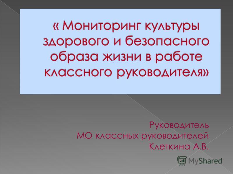 Руководитель МО классных руководителей Клеткина А.В.
