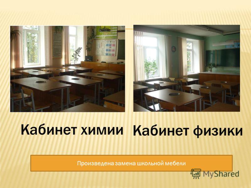 Кабинет физики Кабинет химии Произведена замена школьной мебели