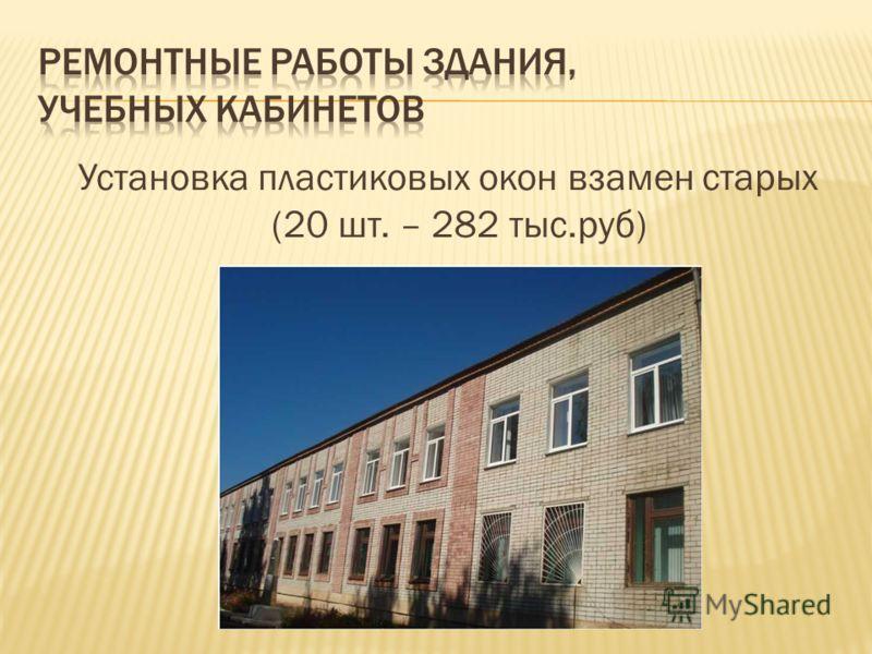 Установка пластиковых окон взамен старых (20 шт. – 282 тыс.руб)