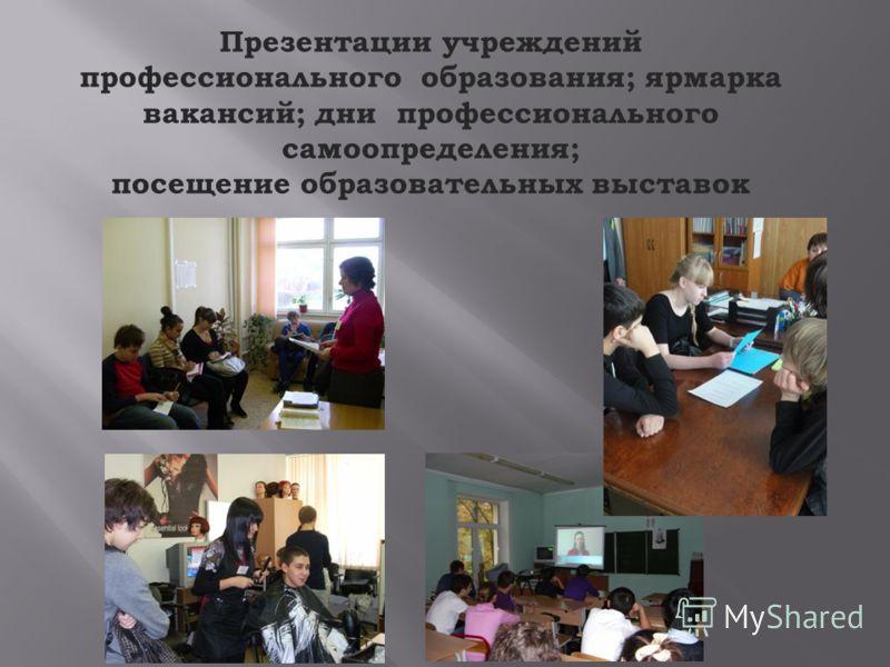 Презентации учреждений профессионального образования; ярмарка вакансий; дни профессионального самоопределения; посещение образовательных выставок