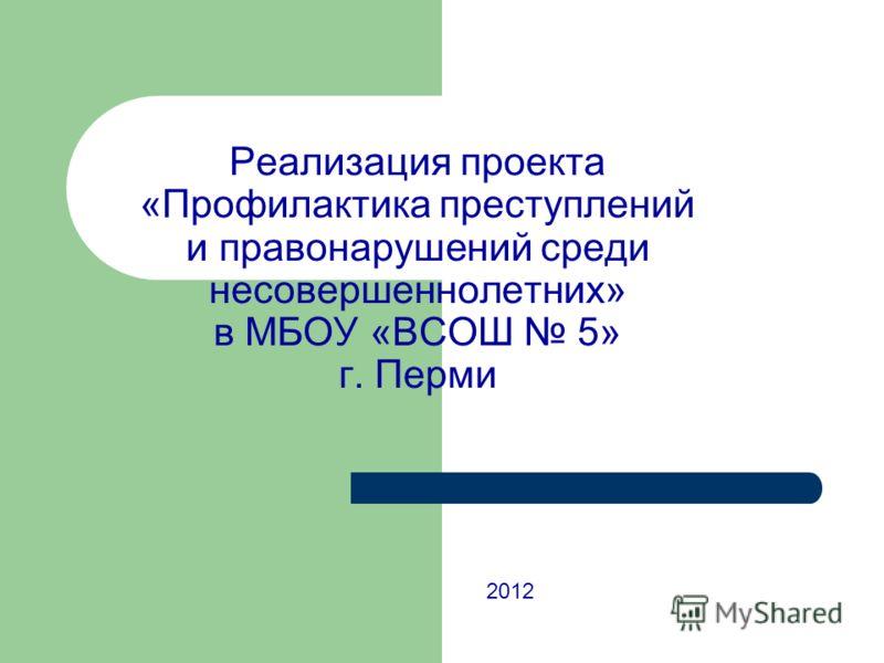 Реализация проекта «Профилактика преступлений и правонарушений среди несовершеннолетних» в МБОУ «ВСОШ 5» г. Перми 2012