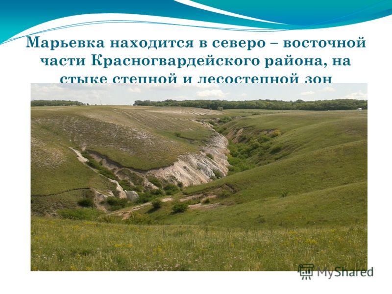 Марьевка находится в северо – восточной части Красногвардейского района, на стыке степной и лесостепной зон