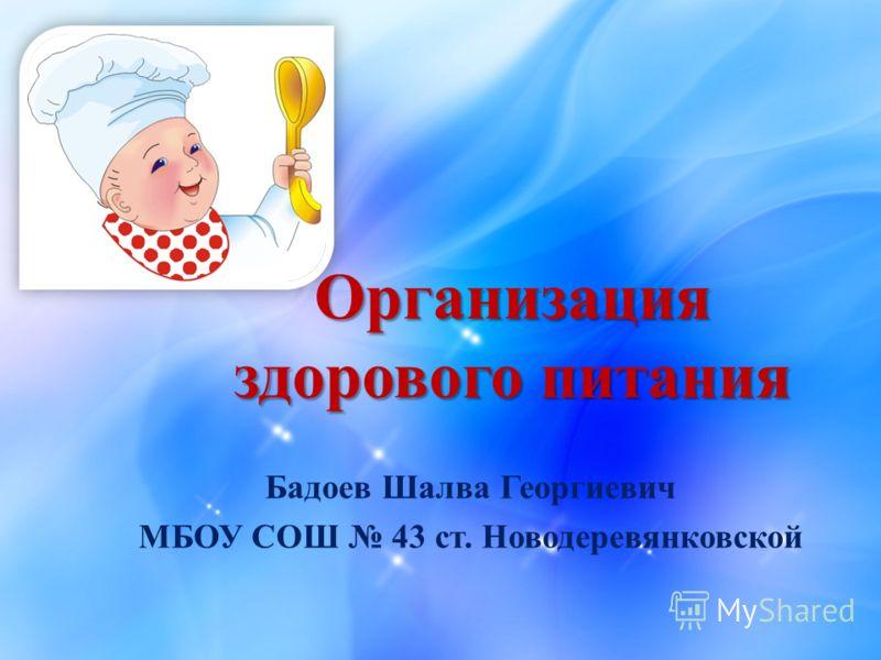 Организация здорового питания Бадоев Шалва Георгиевич МБОУ СОШ 43 ст. Новодеревянковской