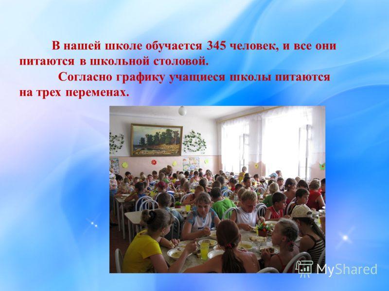 В нашей школе обучается 345 человек, и все они питаются в школьной столовой. Согласно графику учащиеся школы питаются на трех переменах.
