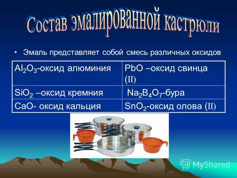 Эмаль представляет собой смесь различных оксидов AI 2 O 3 -оксид алюминияPbO –оксид свинца ( II) SiO 2 –оксид кремния Na 2 B 4 O 7 -бура CaO- оксид кальцияSnO 2 -оксид олова ( II)