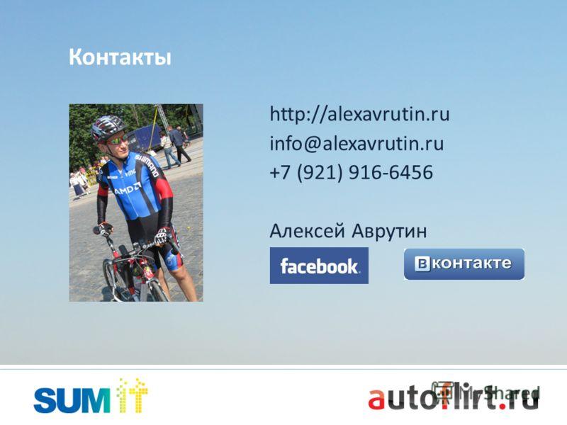 http://alexavrutin.ru info@alexavrutin.ru +7 (921) 916-6456 Алексей Аврутин Контакты