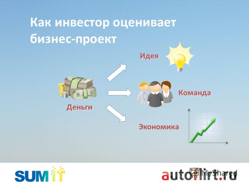 Команда Как инвестор оценивает <a href='http://www.myshared.ru/slide/137113/' title='бизнес'>бизнес</a>-проект Идея Экономика Деньги