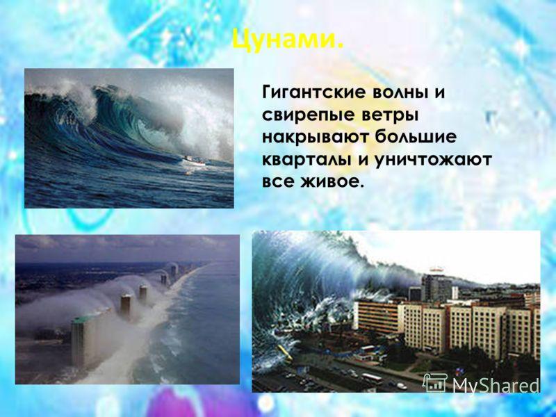 Гигантские волны и свирепые ветры накрывают большие кварталы и уничтожают все живое. Цунами.