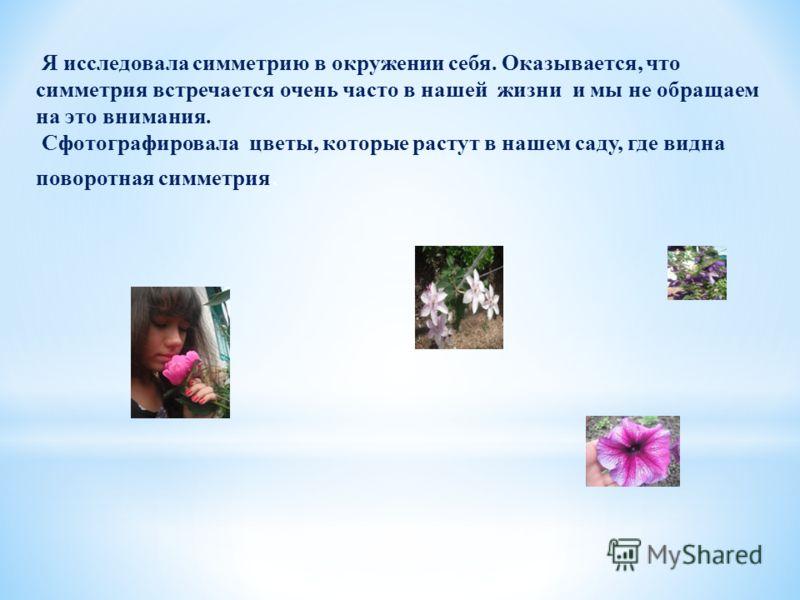 Я исследовала симметрию в окружении себя. Оказывается, что симметрия встречается очень часто в нашей жизни и мы не обращаем на это внимания. Сфотографировала цветы, которые растут в нашем саду, где видна поворотная симметрия.