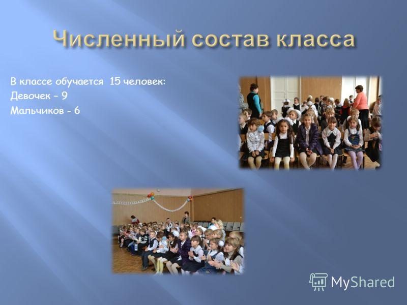 В классе обучается 15 человек: Девочек – 9 Мальчиков - 6