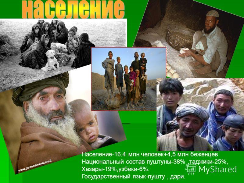 Население-16.4 млн человек+4,5 млн беженцев Национальный состав пуштуны-38%,таджики-25%, Хазары-19%,узбеки-6%. Государственный язык-пушту, дари.