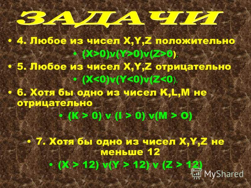 4. Любое из чисел X,Y,Z положительно (X>0)v(Y>0)v(Z>0 ). 5. Любое из чисел X,Y,Z отрицательно (X О) 7. Хотя бы одно из чисел X,Y,Z не меньше 12 (X > 12) v(Y > 12) v (Z > 12)
