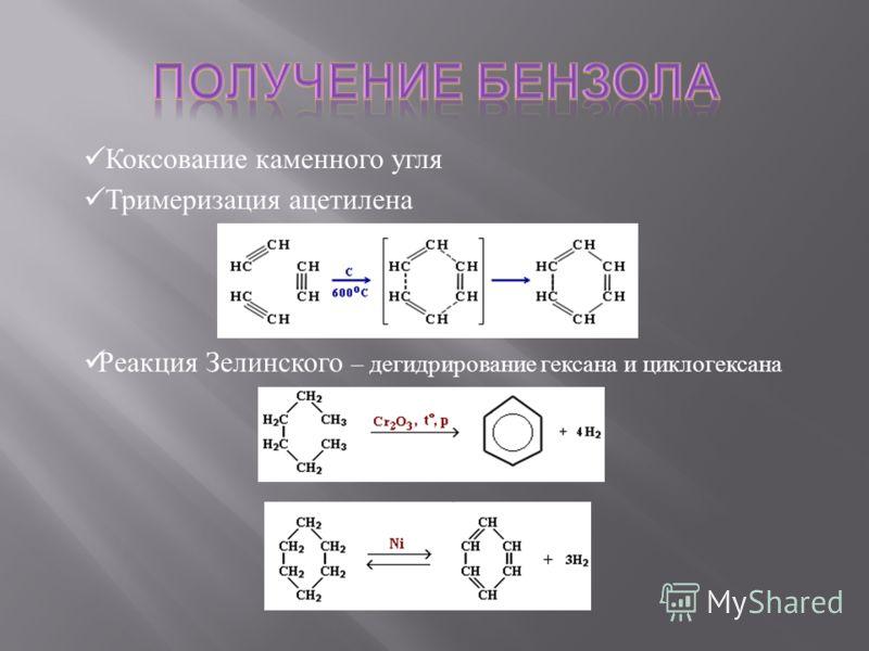 Коксование каменного угля Тримеризация ацетилена Реакция Зелинского – дегидрирование гексана и циклогексана