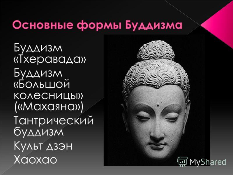 Буддизм «Тхеравада» Буддизм «Большой колесницы» («Махаяна») Тантрический буддизм Культ дзэн Хаохао
