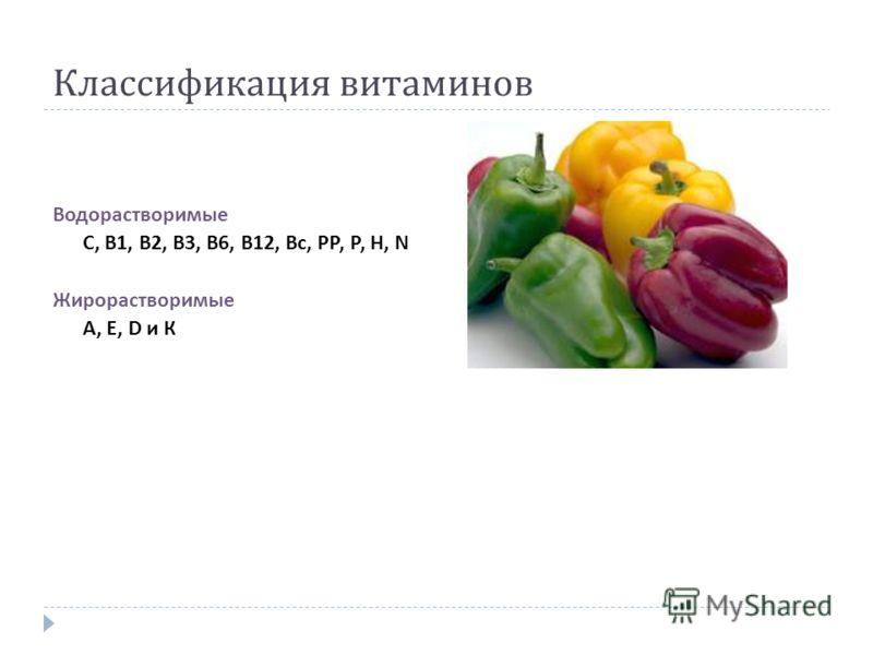 Классификация витаминов Водорастворимые С, В 1, В 2, В 3, В 6, В 12, Вс, РР, Р, Н, N Жирорастворимые А, Е, D и К