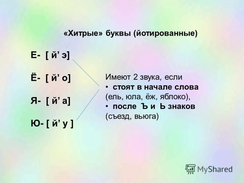 «Хитрые» буквы (йотированные) Е- [ й э] Ё- [ й о] Я- [ й а] Ю- [ й у ] Имеют 2 звука, если стоят в начале слова (ель, юла, ёж, яблоко), после Ъ и Ь знаков (съезд, вьюга)