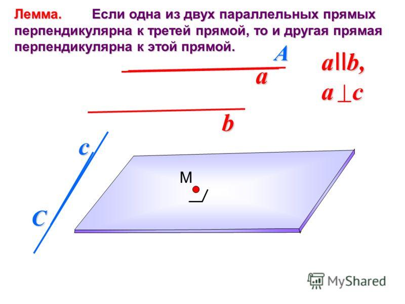 Лемма. Если одна из двух параллельных прямых перпендикулярна к третей прямой, то и другая прямая перпендикулярна к этой прямой. a b c a II b, a c A C M