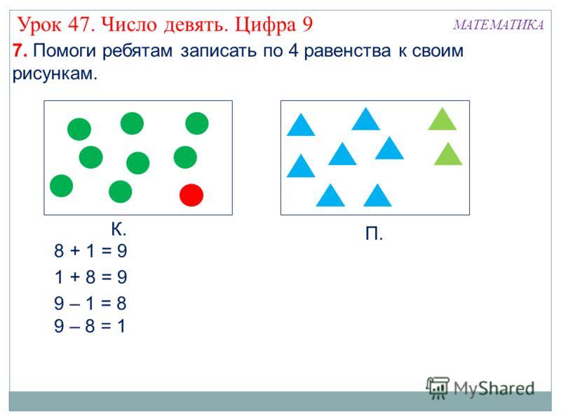 К. П. 8 + 1 = 9 1 + 8 = 9 9 – 1 = 8 9 – 8 = 1 7. Помоги ребятам записать по 4 равенства к своим рисункам. МАТЕМАТИКА Урок 47. Число девять. Цифра 9