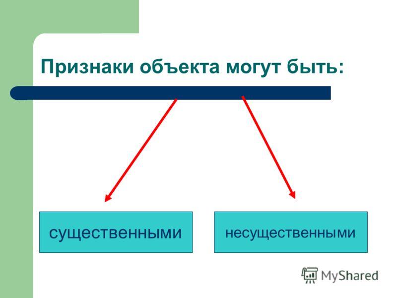 Признаки объекта могут быть: существенными несущественными