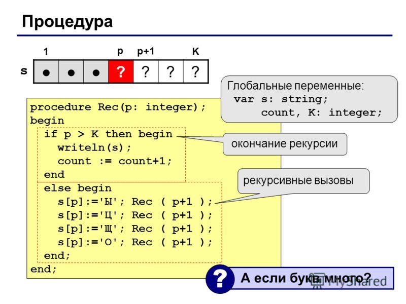 Процедура procedure Rec(p: integer); begin if p > K then begin writeln(s); count := count+1; end else begin s[p]:='Ы'; Rec ( p+1 ); s[p]:='Ц'; Rec ( p+1 ); s[p]:='Щ'; Rec ( p+1 ); s[p]:='О'; Rec ( p+1 ); end; ???? 1K p Глобальные переменные: var s: s