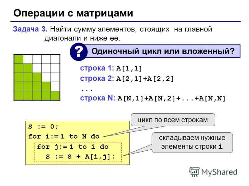 Операции с матрицами Задача 3. Найти сумму элементов, стоящих на главной диагонали и ниже ее. Одиночный цикл или вложенный? ? строка 1: A[1,1] строка 2: A[2,1]+A[2,2]... строка N: A[N,1]+A[N,2]+...+A[N,N] S := 0; for i:= 1 to N do for j:= 1 to i do S