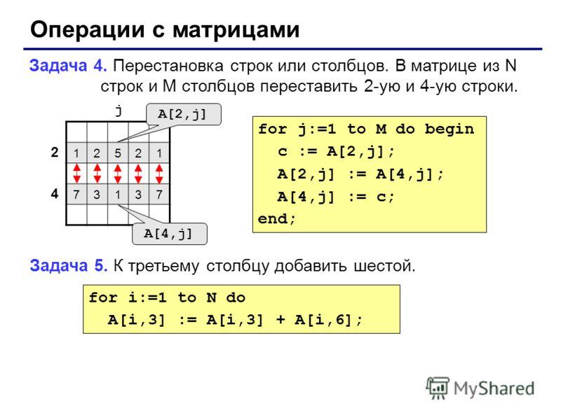 Операции с матрицами Задача 4. Перестановка строк или столбцов. В матрице из N строк и M столбцов переставить 2-ую и 4-ую строки. 12521 73137 2 4 j A[2,j] A[4,j] for j:=1 to M do begin c := A[2,j]; A[2,j] := A[4,j]; A[4,j] := c; end; Задача 5. К трет