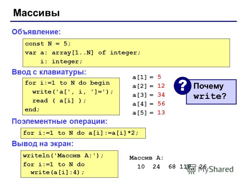Массивы Объявление: Ввод с клавиатуры: Поэлементные операции: Вывод на экран: const N = 5; var a: array[1..N] of integer; i: integer; for i:=1 to N do begin write('a[', i, ']='); read ( a[i] ); end; a[1] = a[2] = a[3] = a[4] = a[5] = 5 12 34 56 13 По