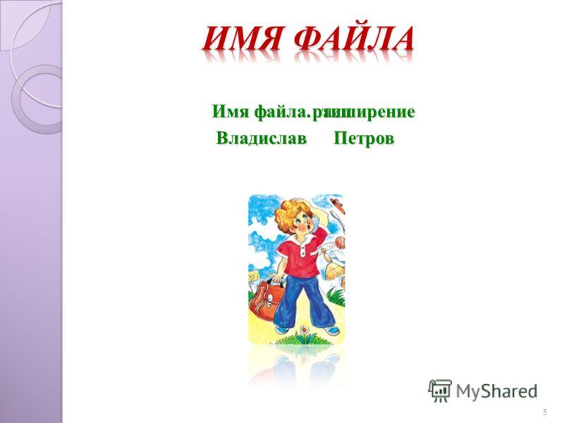 ПетровВладислав 5 Имя файла. расширениетип