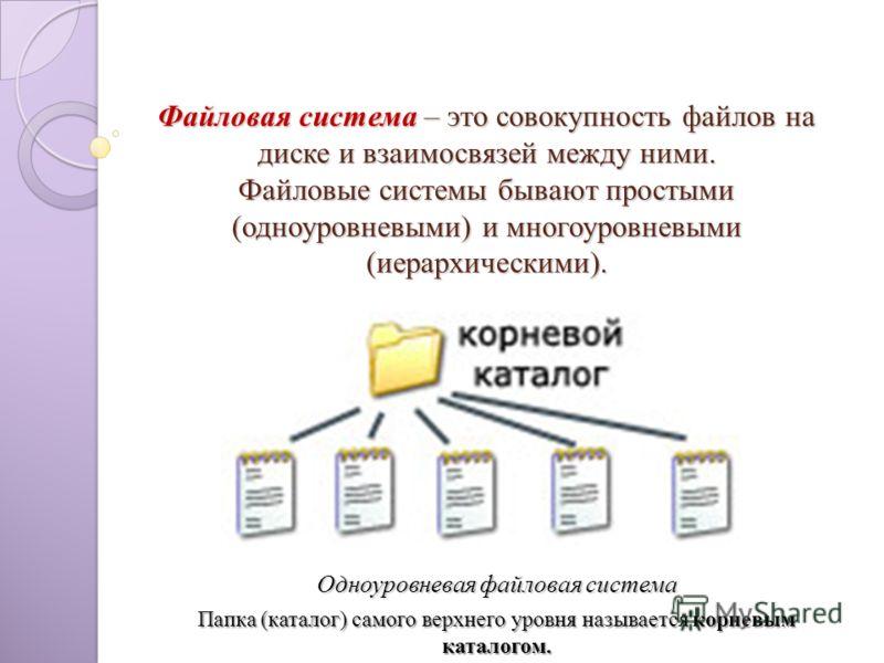 Файловая система – это совокупность файлов на диске и взаимосвязей между ними. Файловые системы бывают простыми (одноуровневыми) и многоуровневыми (иерархическими). Одноуровневая файловая система Папка (каталог) самого верхнего уровня называется корн