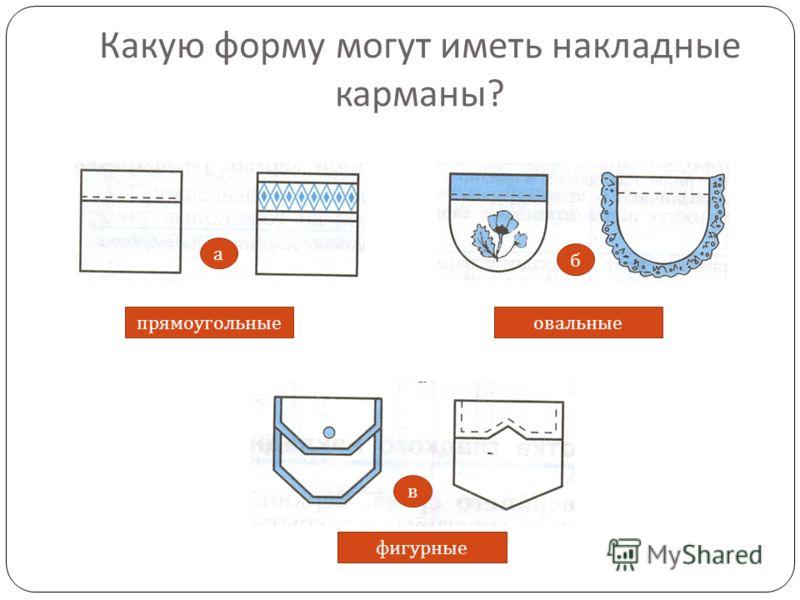 Какую форму могут иметь накладные карманы ? прямоугольные фигурные овальные а в б