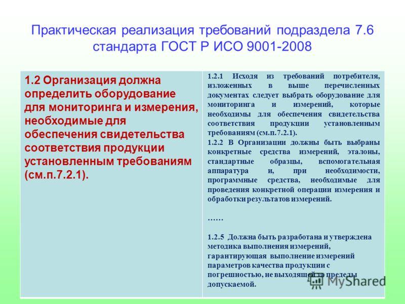 Практическая реализация требований подраздела 7.6 стандарта ГОСТ Р ИСО 9001-2008 1.2 Организация должна определить оборудование для мониторинга и измерения, необходимые для обеспечения свидетельства соответствия продукции установленным требованиям (с