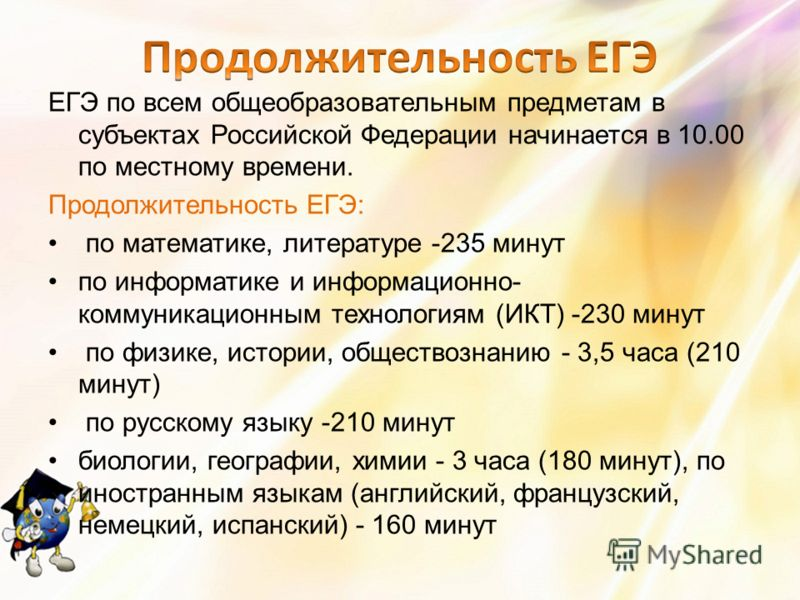 ЕГЭ по всем общеобразовательным предметам в субъектах Российской Федерации начинается в 10.00 по местному времени. Продолжительность ЕГЭ: по математике, литературе -235 минут по информатике и информационно- коммуникационным технологиям (ИКТ) -230 мин