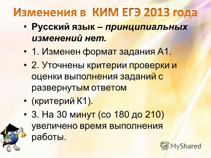 Русский язык – принципиальных изменений нет. 1. Изменен формат задания А1. 2. Уточнены критерии проверки и оценки выполнения заданий с развернутым ответом (критерий К1). 3. На 30 минут (со 180 до 210) увеличено время выполнения работы.
