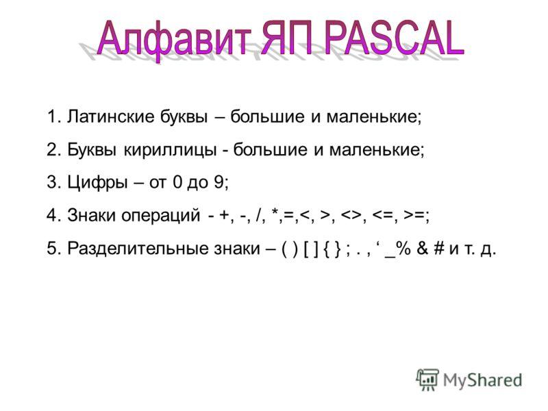1.Латинские буквы – большие и маленькие; 2.Буквы кириллицы - большие и маленькие; 3.Цифры – от 0 до 9; 4.Знаки операций - +, -, /, *,=,, , =; 5.Разделительные знаки – ( ) [ ] { } ;., _% & # и т. д.
