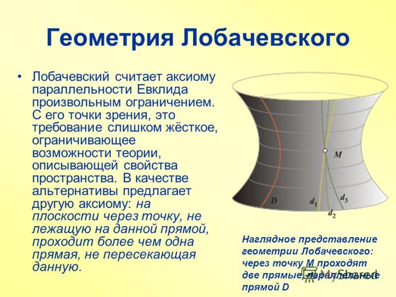 Геометрия Лобачевского Лобачевский считает аксиому параллельности Евклида произвольным ограничением. С его точки зрения, это требование слишком жёсткое, ограничивающее возможности теории, описывающей свойства пространства. В качестве альтернативы пре