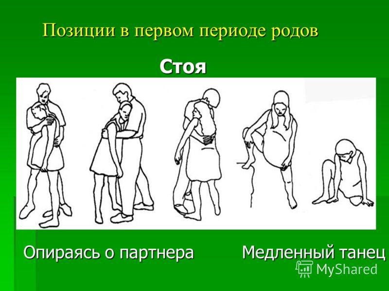 Позиции в первом периоде родов Стоя Опираясь о партнера Медленный танец