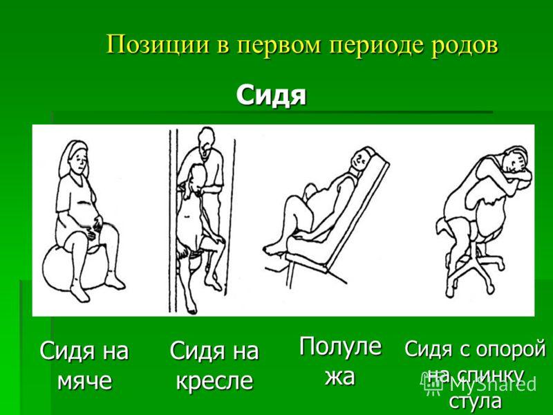Позиции в первом периоде родов Сидя на мяче Сидя Сидя на кресле Полуле жа Сидя с опорой на спинку стула