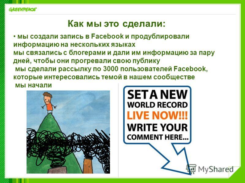 Как мы это сделали: мы создали запись в Facebook и продублировали информацию на нескольких языках мы связались с блогерами и дали им информацию за пару дней, чтобы они прогревали свою публику мы сделали рассылку по 3000 пользователей Facebook, которы