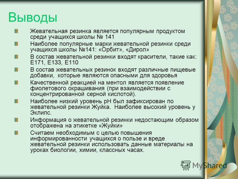 Выводы Жевательная резинка является популярным продуктом среди учащихся школы 141 Наиболее популярные марки жевательной резинки среди учащихся школы 141: «Орбит», «Дирол» В состав жевательной резинки входят красители, такие как: Е171, Е133, Е110 В со