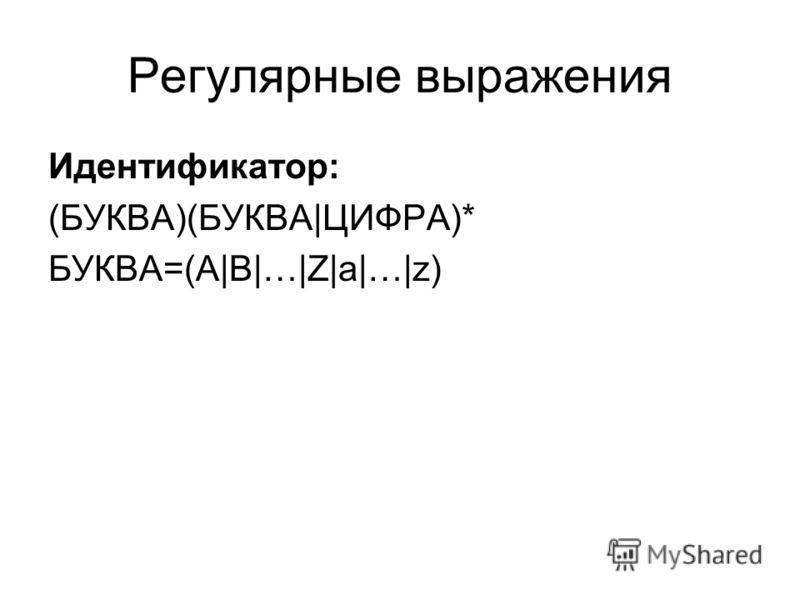 Регулярные выражения Идентификатор: (БУКВА)(БУКВА|ЦИФРА)* БУКВА=(A|B|…|Z|a|…|z)