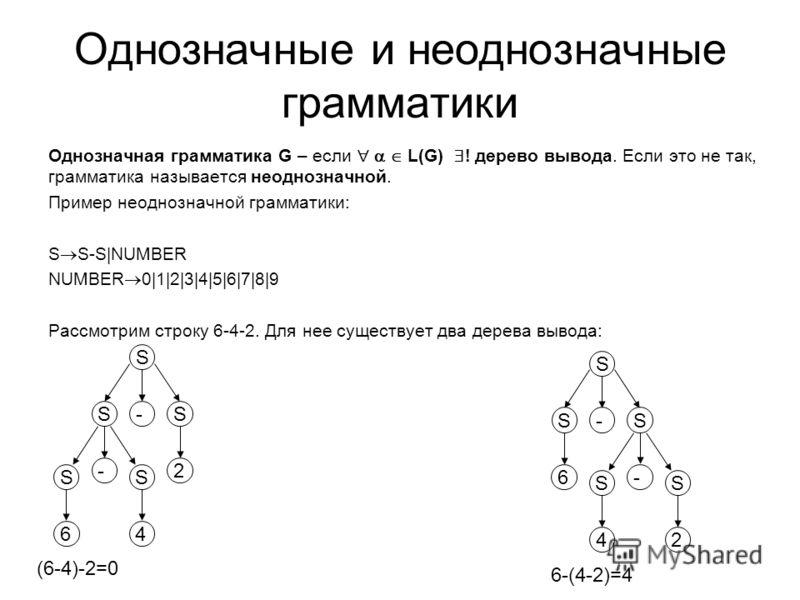 Однозначные и неоднозначные грамматики Однозначная грамматика G – если L(G) ! дерево вывода. Если это не так, грамматика называется неоднозначной. Пример неоднозначной грамматики: S S-S|NUMBER NUMBER 0|1|2|3|4|5|6|7|8|9 Рассмотрим строку 6-4-2. Для н