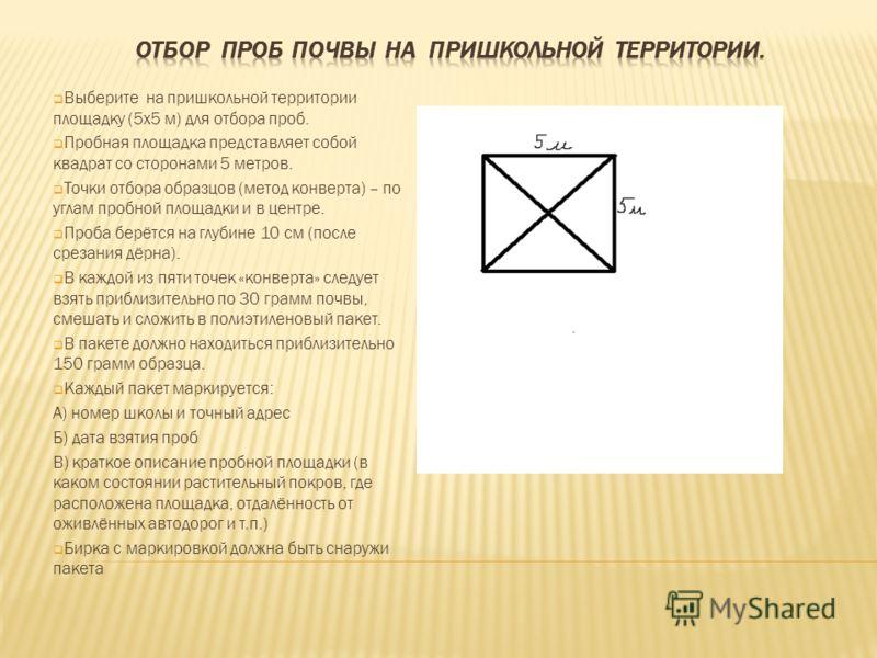 Выберите на пришкольной территории площадку (5х5 м) для отбора проб. Пробная площадка представляет собой квадрат со сторонами 5 метров. Точки отбора образцов (метод конверта) – по углам пробной площадки и в центре. Проба берётся на глубине 10 см (пос