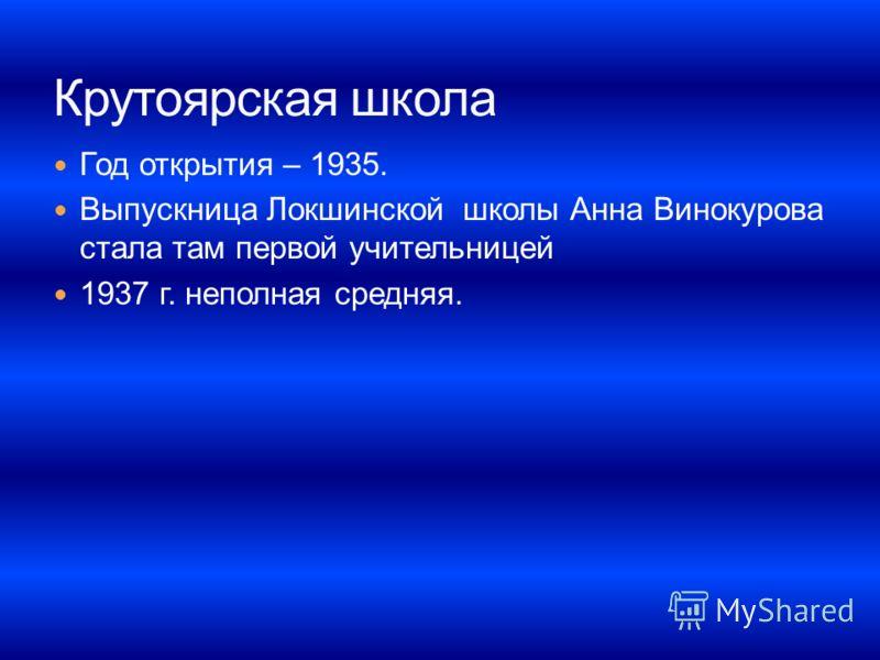 Год открытия – 1935. Выпускница Локшинской школы Анна Винокурова стала там первой учительницей 1937 г. неполная средняя.