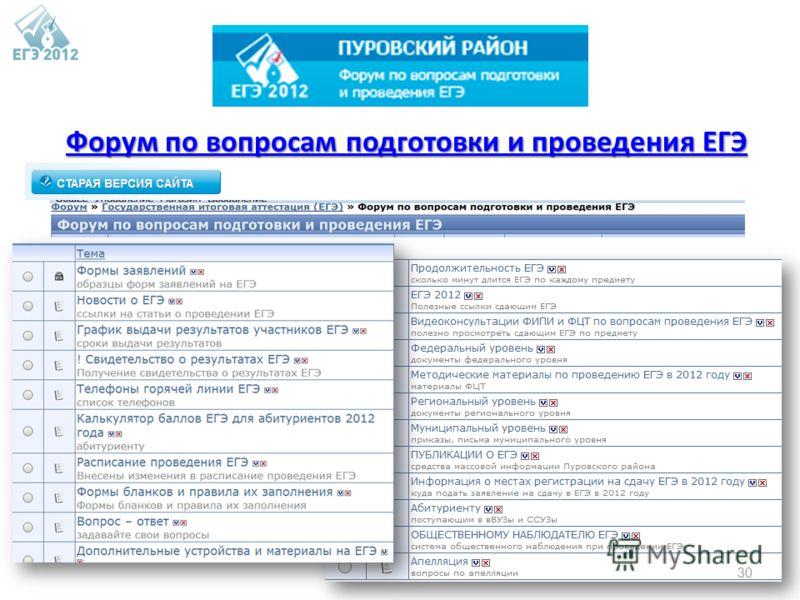 Форум по вопросам подготовки и проведения ЕГЭ Форум по вопросам подготовки и проведения ЕГЭ 30