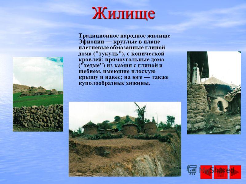 Жилище Традиционное народное жилище Эфиопии круглые в плане плетневые обмазанные глиной дома (тукуль), с конической кровлей; прямоугольные дома (хедме) из камня с глиной и щебнем, имеющие плоскую крышу и навес; на юге также куполообразные хижины.