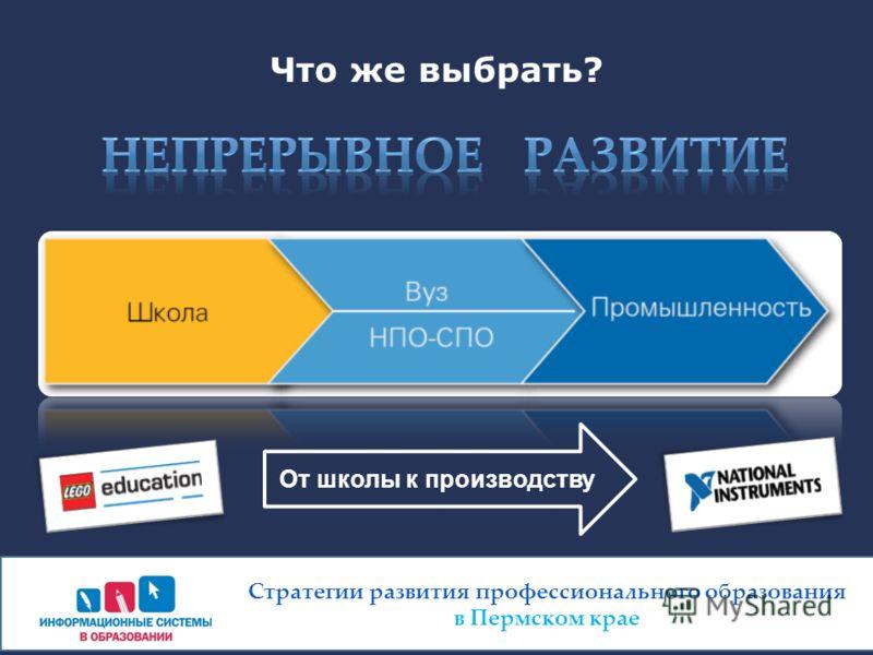 Что же выбрать? Стратегии развития профессионального образования в Пермском крае От школы к производству