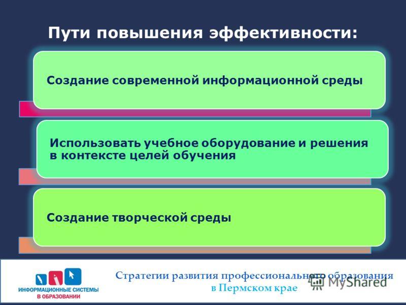 Пути повышения эффективности: Создание современной информационной среды Использовать учебное оборудование и решения в контексте целей обучения Создание творческой среды Стратегии развития профессионального образования в Пермском крае