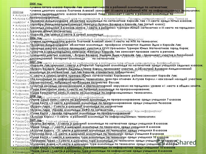 2012 Т.Д.Овчинникова 2005 год: ученик пятого класса Королёв Лев занимает I место в районной олимпиаде по математике; ученик десятого класса Платонов Алексей занимает III место в районной НПК по информационным технологиям; ученик одиннадцатого класса