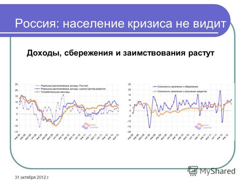 Россия: население кризиса не видит Доходы, сбережения и заимствования растут 31 октября 2012 г.